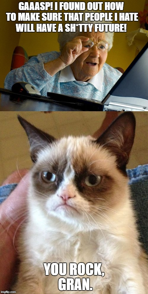 Grumpy cat | GAAASP! I FOUND OUT HOW TO MAKE SURE THAT PEOPLE I HATE WILL HAVE A SH*TTY FUTURE! YOU ROCK, GRAN. | image tagged in grandma finds the internet,grumpy cat | made w/ Imgflip meme maker