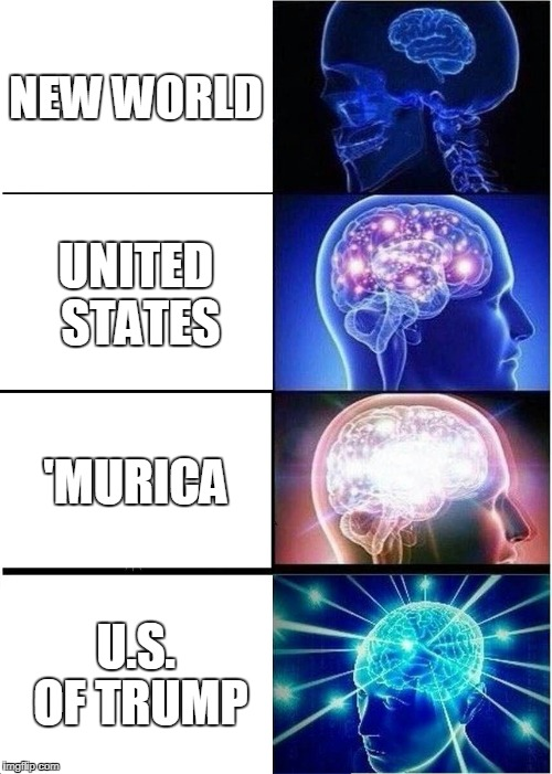 Expanding Brain Meme | NEW WORLD UNITED STATES 'MURICA U.S. OF TRUMP | image tagged in memes,expanding brain | made w/ Imgflip meme maker