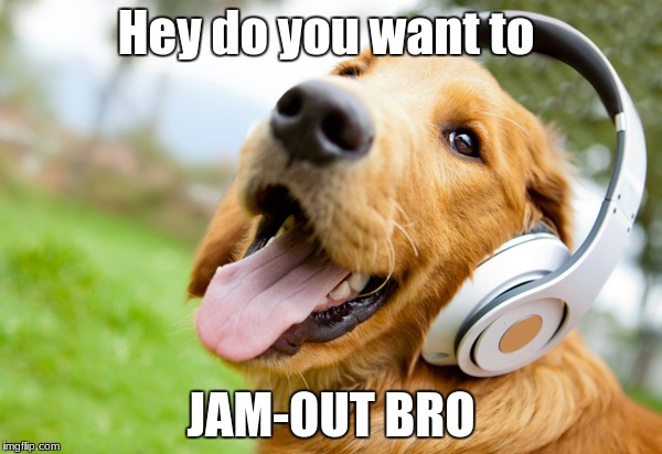jaming - out | Hey do you want to JAM-OUT BRO | image tagged in cute,happy,beats,dogs,sunny | made w/ Imgflip meme maker