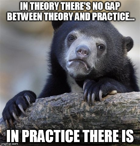 Confession Bear Meme | IN THEORY THERE'S NO GAP BETWEEN THEORY AND PRACTICE... IN PRACTICE THERE IS | image tagged in memes,confession bear | made w/ Imgflip meme maker