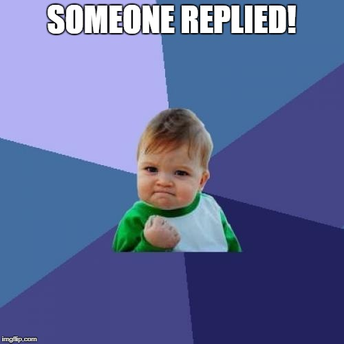 Success Kid Meme | SOMEONE REPLIED! | image tagged in memes,success kid | made w/ Imgflip meme maker