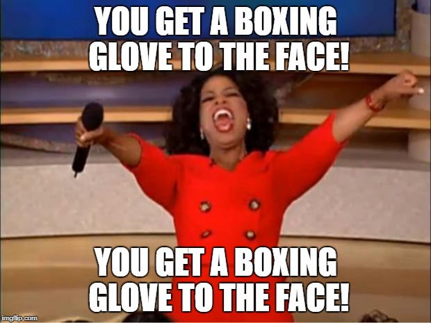 Oprah You Get A Meme | YOU GET A BOXING GLOVE TO THE FACE! YOU GET A BOXING GLOVE TO THE FACE! | image tagged in memes,oprah you get a | made w/ Imgflip meme maker