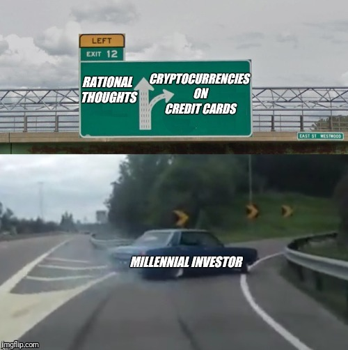 This is happening in a big way. | RATIONAL THOUGHTS | image tagged in cryptocurrency,bitcoin,debt,credit card | made w/ Imgflip meme maker