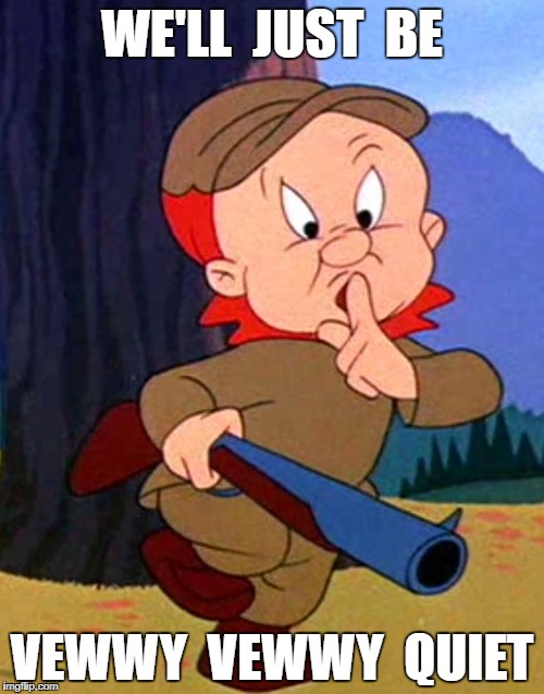 WE'LL  JUST  BE VEWWY  VEWWY  QUIET | image tagged in elmer fudd | made w/ Imgflip meme maker