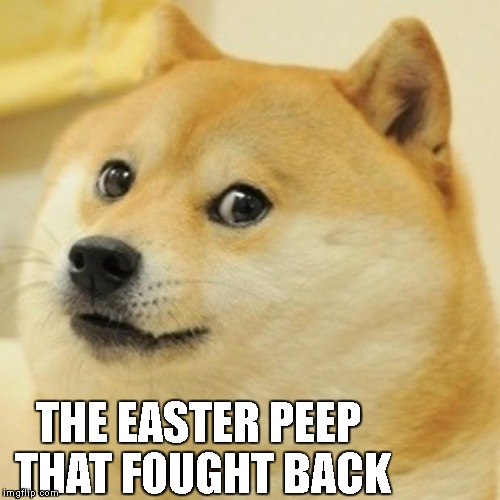 Doge Meme | THE EASTER PEEP THAT FOUGHT BACK | image tagged in memes,doge | made w/ Imgflip meme maker