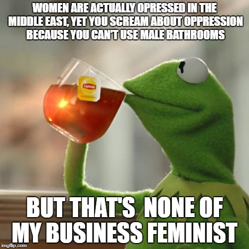 But Thats None Of My Business Meme | WOMEN ARE ACTUALLY OPRESSED IN THE MIDDLE EAST, YET YOU SCREAM ABOUT OPPRESSION BECAUSE YOU CAN'T USE MALE BATHROOMS BUT THAT'S  NONE OF MY  | image tagged in memes,but thats none of my business,kermit the frog | made w/ Imgflip meme maker