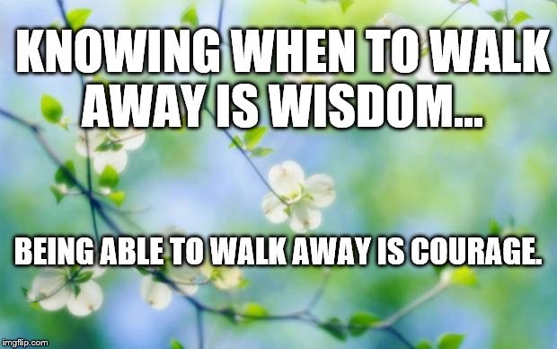flowers | KNOWING WHEN TO WALK AWAY IS WISDOM... BEING ABLE TO WALK AWAY IS COURAGE. | image tagged in flowers | made w/ Imgflip meme maker