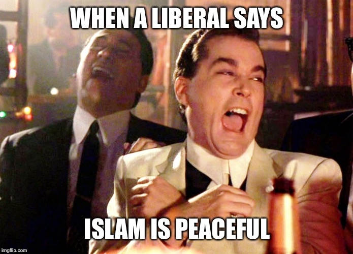 Islam isn't peaceful | WHEN A LIBERAL SAYS ISLAM IS PEACEFUL | image tagged in memes,good fellas hilarious,politics,trump,maga,america | made w/ Imgflip meme maker