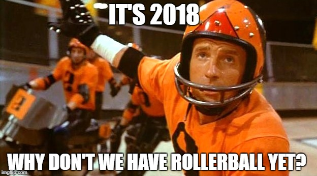 IT'S 2018 WHY DON'T WE HAVE ROLLERBALL YET? | image tagged in future,in the future,meme,sports,extreme sports,prediction | made w/ Imgflip meme maker