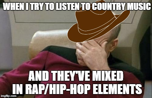 I'm 90% Rock-N-Roll, but | WHEN I TRY TO LISTEN TO COUNTRY MUSIC AND THEY'VE MIXED IN RAP/HIP-HOP ELEMENTS | image tagged in memes,captain picard facepalm,country music | made w/ Imgflip meme maker