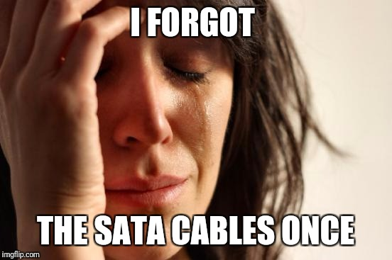 First World Problems Meme | I FORGOT THE SATA CABLES ONCE | image tagged in memes,first world problems | made w/ Imgflip meme maker