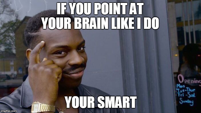 Roll Safe Think About It Meme | IF YOU POINT AT YOUR BRAIN LIKE I DO YOUR SMART | image tagged in memes,roll safe think about it | made w/ Imgflip meme maker