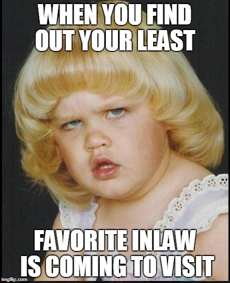WHEN YOU FIND OUT YOUR LEAST FAVORITE INLAW IS COMING TO VISIT | made w/ Imgflip meme maker