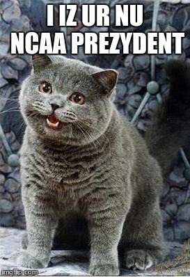 Your new NCAA President | I IZ UR NU NCAA PREZYDENT | image tagged in i can has cheezburger cat | made w/ Imgflip meme maker