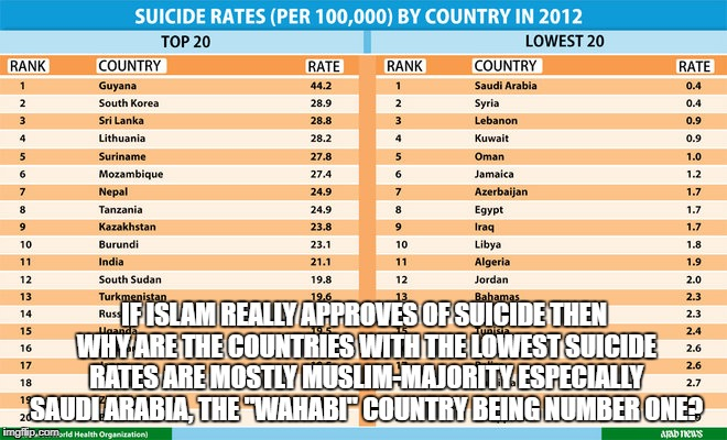 Islam Does NOT Approve Of Suicide, Here's The Proof | IF ISLAM REALLY APPROVES OF SUICIDE THEN WHY ARE THE COUNTRIES WITH THE LOWEST SUICIDE RATES ARE MOSTLY MUSLIM-MAJORITY ESPECIALLY SAUDI ARA | image tagged in suicide,suicide bomber,islam,muslim,lies | made w/ Imgflip meme maker