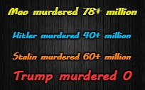 Mao, Hitler, Stalin, Trump Murders | Mao murdered 78+ million  Stalin murdered 60+ million Hitler murdered 40+ million Trump murdered 0 | image tagged in mao,hitler,stalin,trump,murders | made w/ Imgflip meme maker