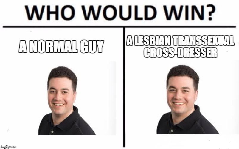 Who Would Win? Meme | A NORMAL GUY A LESBIAN TRANSSEXUAL CROSS-DRESSER | image tagged in memes,who would win | made w/ Imgflip meme maker
