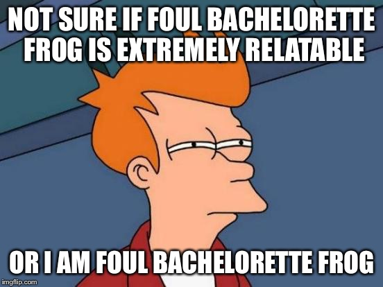 Too close for comfort | NOT SURE IF FOUL BACHELORETTE FROG IS EXTREMELY RELATABLE OR I AM FOUL BACHELORETTE FROG | image tagged in memes,futurama fry,foul bachelorette frog,hmm,gross | made w/ Imgflip meme maker