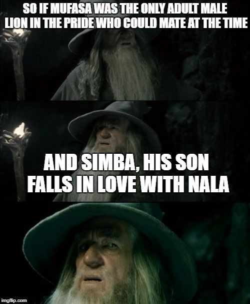 Gandolf I have no memory of this place | SO IF MUFASA WAS THE ONLY ADULT MALE LION IN THE PRIDE WHO COULD MATE AT THE TIME AND SIMBA, HIS SON FALLS IN LOVE WITH NALA | image tagged in gandolf i have no memory of this place | made w/ Imgflip meme maker