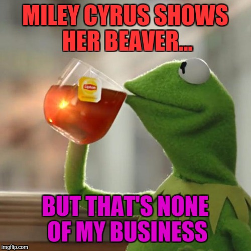 Miley Shows | MILEY CYRUS SHOWS HER BEAVER... BUT THAT'S NONE OF MY BUSINESS | image tagged in memes,kermit the frog,loyalsockatxhamster,miley cyrus,peeing,beavers | made w/ Imgflip meme maker