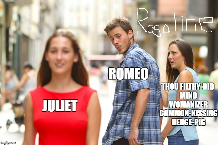 Distracted Boyfriend Meme | JULIET ROMEO THOU FILTHY-DID MIND WOMANIZER COMMON-KISSING HEDGE-PIG | image tagged in memes,distracted boyfriend | made w/ Imgflip meme maker