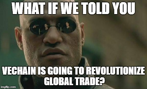 Matrix Morpheus Meme | WHAT IF WE TOLD YOU VECHAIN IS GOING TO REVOLUTIONIZE GLOBAL TRADE? | image tagged in memes,matrix morpheus | made w/ Imgflip meme maker