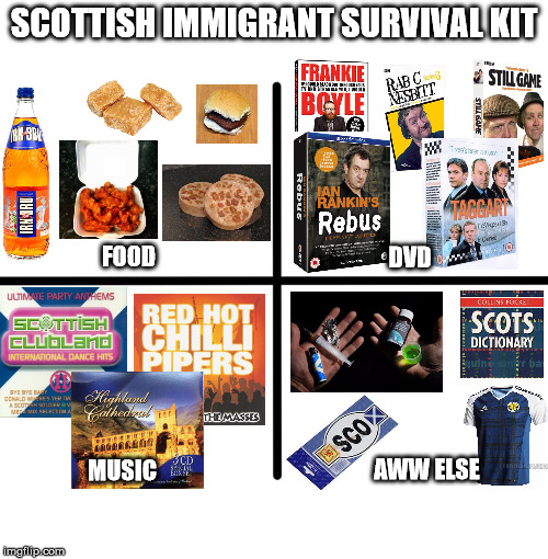 Tides Me Over For Years At A Time... | SCOTTISH IMMIGRANT SURVIVAL KIT FOOD DVD MUSIC AWW ELSE | image tagged in memes,immigrant,scotland,scottish,expat,survival | made w/ Imgflip meme maker