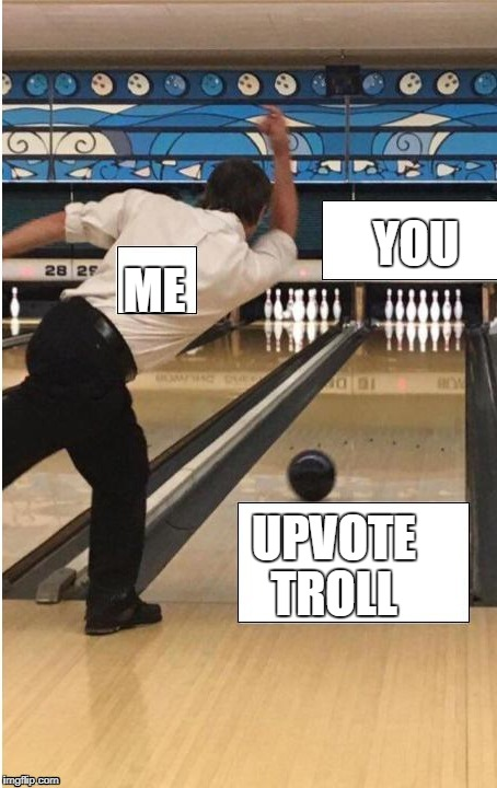bowling | UPVOTE TROLL ME YOU | image tagged in bowling | made w/ Imgflip meme maker