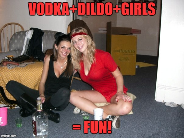 VODKA+D**DO+GIRLS = FUN! | image tagged in dildo,hot girl | made w/ Imgflip meme maker