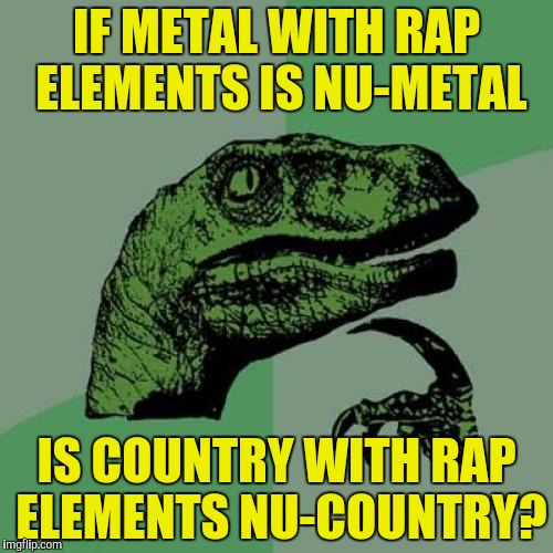 Philosoraptor Meme | IF METAL WITH RAP ELEMENTS IS NU-METAL IS COUNTRY WITH RAP ELEMENTS NU-COUNTRY? | image tagged in memes,philosoraptor | made w/ Imgflip meme maker