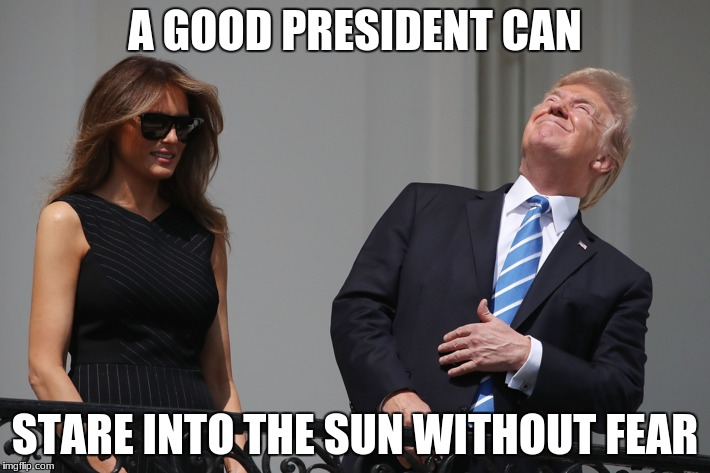 A GOOD PRESIDENT CAN STARE INTO THE SUN WITHOUT FEAR | image tagged in trump | made w/ Imgflip meme maker