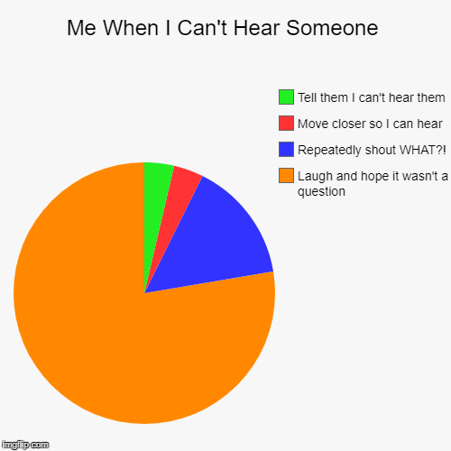 Me When I Can't Hear Someone | Laugh and hope it wasn't a question, Repeatedly shout WHAT?!, Move closer so I can hear, Tell them I can't he | image tagged in funny,pie charts | made w/ Imgflip pie chart maker
