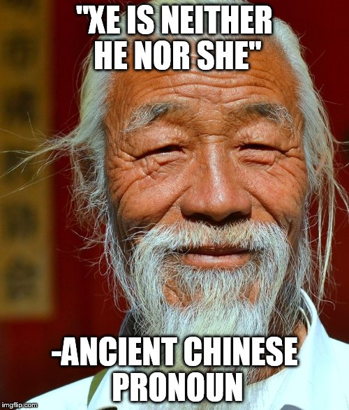 """XE IS NEITHER HE NOR SHE"" -ANCIENT CHINESE PRONOUN 