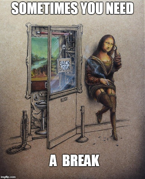 mona lisa smokes | SOMETIMES YOU NEED A  BREAK | image tagged in mona lisa | made w/ Imgflip meme maker