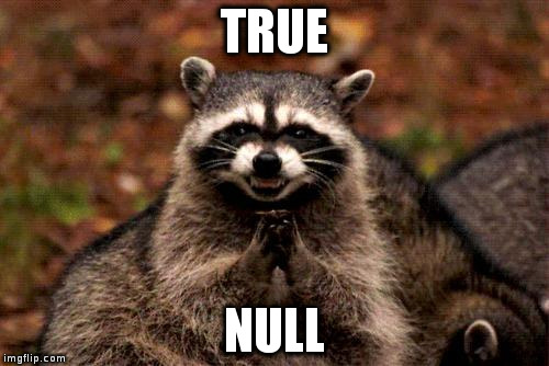 TRUE NULL | image tagged in evil raccoon | made w/ Imgflip meme maker