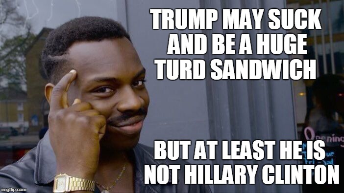 Roll Safe Think About It Meme | TRUMP MAY SUCK AND BE A HUGE TURD SANDWICH BUT AT LEAST HE IS NOT HILLARY CLINTON | image tagged in memes,roll safe think about it | made w/ Imgflip meme maker