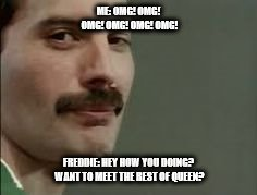 ME: OMG! OMG! OMG! OMG! OMG! OMG! FREDDIE: HEY HOW YOU DOING? WANT TO MEET THE REST OF QUEEN? | image tagged in freddie mercury thanks you | made w/ Imgflip meme maker