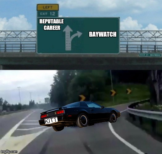 Early in his career David Hasselhoff was forced to make a tough choice | REPUTABLE CAREER BAYWATCH | image tagged in exit 12 highway meme,knight rider,baywatch,david hasselhoff | made w/ Imgflip meme maker