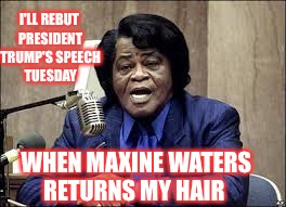MW, Maxine Waters wig, SOTU, BET speech  | I'LL REBUT PRESIDENT TRUMP'S SPEECH TUESDAY WHEN MAXINE WATERS RETURNS MY HAIR | image tagged in maxine waters | made w/ Imgflip meme maker