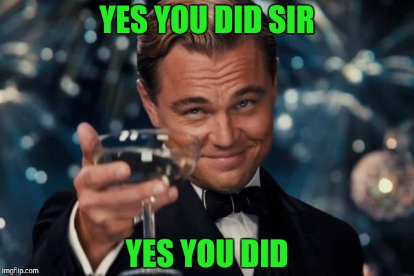 Leonardo Dicaprio Cheers Meme | YES YOU DID SIR YES YOU DID | image tagged in memes,leonardo dicaprio cheers | made w/ Imgflip meme maker