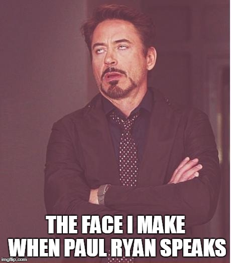 Face You Make Robert Downey Jr Meme | THE FACE I MAKE WHEN PAUL RYAN SPEAKS | image tagged in memes,face you make robert downey jr | made w/ Imgflip meme maker