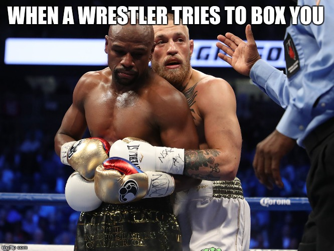 When wrestler tries to box you | WHEN A WRESTLER TRIES TO BOX YOU | image tagged in boxing,floyd mayweather,conor mcgregor,funny memes,idubbbz,fallout 4 | made w/ Imgflip meme maker