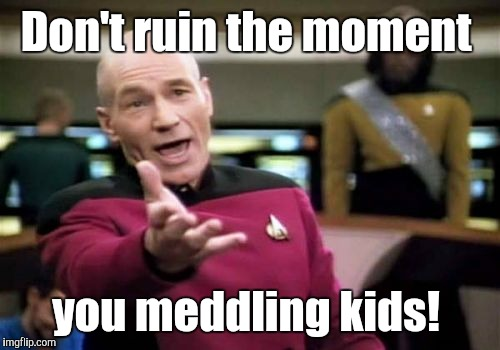 Picard Wtf Meme | Don't ruin the moment you meddling kids! | image tagged in memes,picard wtf | made w/ Imgflip meme maker