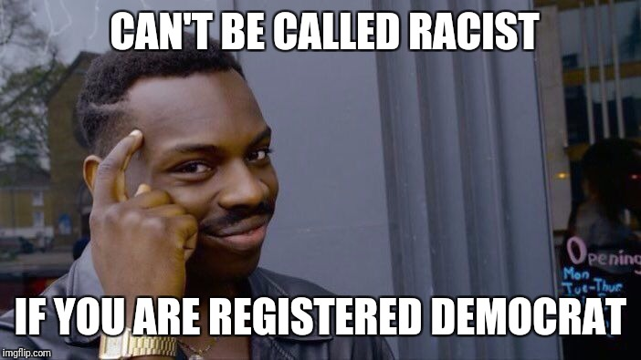 Roll Safe Think About It Meme | CAN'T BE CALLED RACIST IF YOU ARE REGISTERED DEMOCRAT | image tagged in memes,roll safe think about it | made w/ Imgflip meme maker