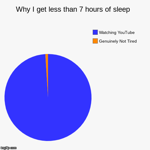 Why I get less than 7 hours of sleep  | Genuinely Not Tired, Watching YouTube | image tagged in funny,pie charts | made w/ Imgflip pie chart maker