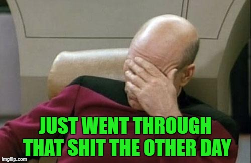 Captain Picard Facepalm Meme | JUST WENT THROUGH THAT SHIT THE OTHER DAY | image tagged in memes,captain picard facepalm | made w/ Imgflip meme maker
