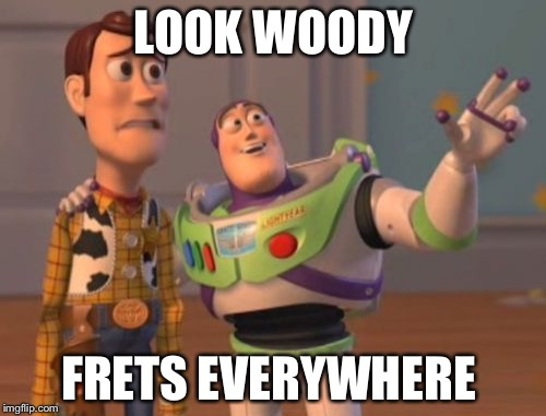 X, X Everywhere Meme | LOOK WOODY FRETS EVERYWHERE | image tagged in memes,x,x everywhere,x x everywhere | made w/ Imgflip meme maker