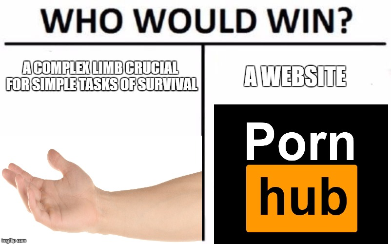 Who Would Win? Meme | A COMPLEX LIMB CRUCIAL FOR SIMPLE TASKS OF SURVIVAL A WEBSITE | image tagged in memes,who would win | made w/ Imgflip meme maker