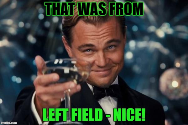 Leonardo Dicaprio Cheers Meme | THAT WAS FROM LEFT FIELD - NICE! | image tagged in memes,leonardo dicaprio cheers | made w/ Imgflip meme maker
