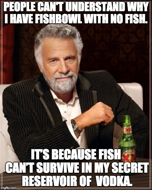 The Most Interesting Man In The World Meme | PEOPLE CAN'T UNDERSTAND WHY I HAVE FISHBOWL WITH NO FISH. IT'S BECAUSE FISH CAN'T SURVIVE IN MY SECRET RESERVOIR OF  VODKA. | image tagged in memes,the most interesting man in the world | made w/ Imgflip meme maker